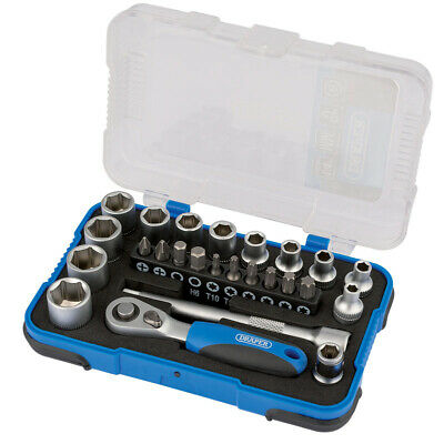 Draper 16354 1/4  Drive 25 Piece Metric Socket & Bit Set 4-13mm • 14.65£