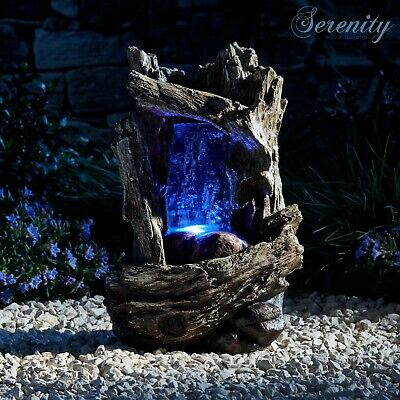 £29.99 • Buy Serenity Tabletop Cascade Tree Trunk Waterfall Water Feature 28cm LED Garden NEW