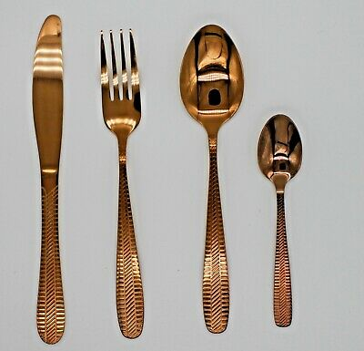 4-24 Copper Colour L Kitchen Cutlery Set  High Quality Tableware Dining    • 9.98£