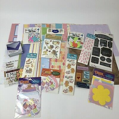 $24 • Buy HUGE Mixed Lot Scrapbooking Paper 12x12 160 Sheets Plus Stickers Die Cuts Photo
