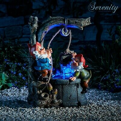 £44.99 • Buy Serenity Gnome Cascade Water Feature LED 33cm Indoor Outdoor Garden Fountain NEW