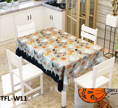 $19.18 • Buy Pumpkin Table Cover Ghost Halloween Kitchen Dinning Decoration Table Cloth