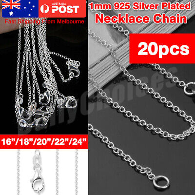 AU13.99 • Buy 925 Silver Plated 1MM Classic Plated Necklace Chain Wholesale Bulk Price 16 -24