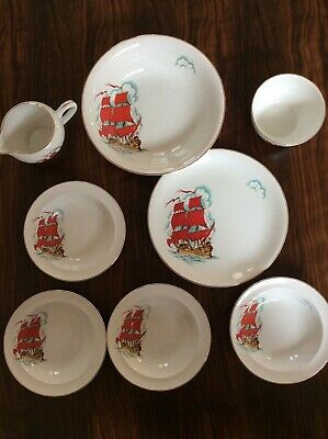 Rare Strawberries & Cream Set By Barratts _  Delphatic China  With Ship Design. • 20£