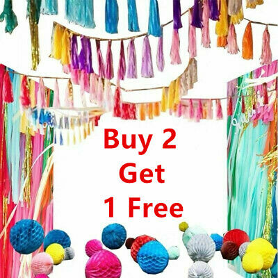 £1.99 • Buy 5 Pieces A Pack Tissue Tassels Paper Garland Bunting Wedding Birthday Party