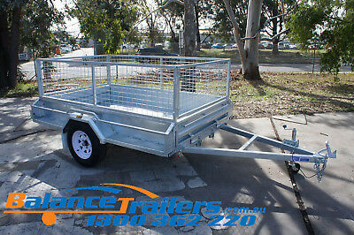 AU1900 • Buy 7x5 Hot Dip Galvanised Fully Welded Tipper Box Trailer With 600mm Removable Cage