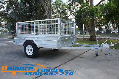 AU2300 • Buy 7x5 Galvanised Fully Welded Box Trailer With 600mm Cage & Brake ATM1400KG