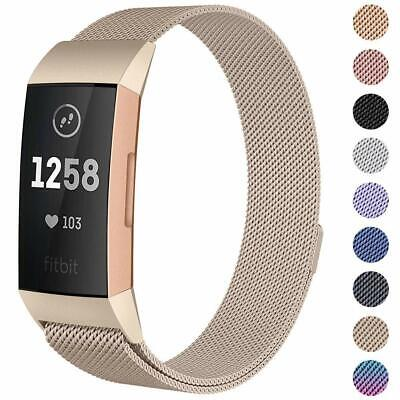 AU16.78 • Buy For Fitbit Charge 3 Replacement Magnetic Loop Strap Stainless Steel Wrist Band