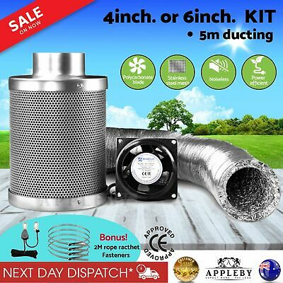 AU171.82 • Buy Hydroponics Grow Tent Ventilation Kit Vent Fan Carbon Filter Duct 6 Inch 4 Inch
