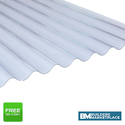 £23.17 • Buy Plastic Roofing Sheets Clear Corrugated Plastic Roofing Sheets 3  Profile