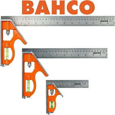BAHCO COMBINATION SET SQUARE STAINLESS STEEL RULE CHOICE OF 150mm, 300mm & 400mm • 8.49£