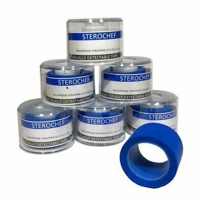 6 Rolls First Aid Catering Plaster Tape Blue Washproof Strapping 2.5cm X 5m • 7.50£
