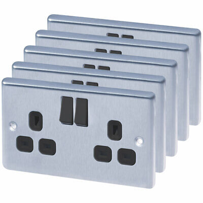 Lap 2-gang 13a Sp Switched Plug Socket Brushed Stainless Steel 5 Pack • 33.99£