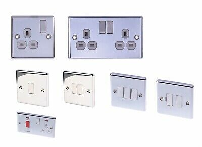 Polished Chromes Sockets Light Switches Fused Connetion Cooker Switch • 9.89£