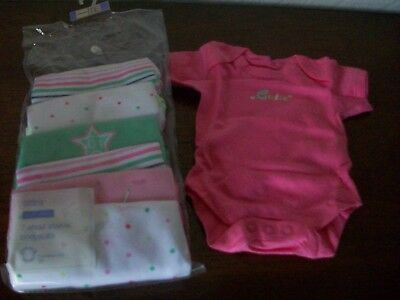 7 Short Sleeve Cotton Bodysuits, Age Newborn (Weight 3.2kg), M&S, New With Tags • 12£