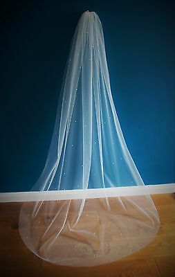 Wedding Veil *Cathedral  Length*1 Tier*Off White/ivory*Pearl&Crystal*soft Tulle • 39.99£