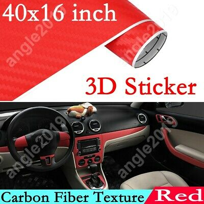 $8.99 • Buy DIY 3D Car Sticker Decoration Interior Accessories Red Carbon Fiber Vinyl Wrap