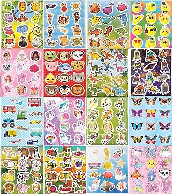 Childrens Party Bag Stickers Sticker Sheets Kids Many Designs - Choose Quantity • 0.99£