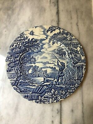 £8.51 • Buy MYOTT 7 1/2' PLATE- THE HUNTER - Blue And White /Hand Engraved-Vintage/1982