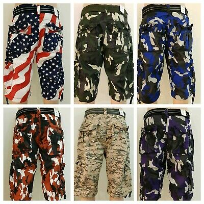 $14.99 • Buy New Men's Focus Army Camo Cargo Shorts 30 To 44 *With Belt*