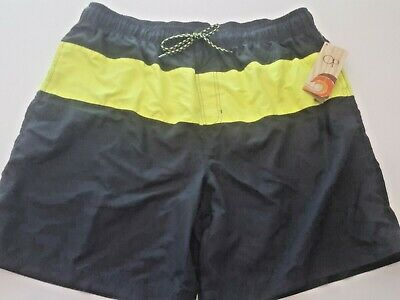 2ba7b23eb8 NWT Mens XL Ocean Pacific/OP Black Yellow Stripe Swim Trunks Board Shorts  CBlock •