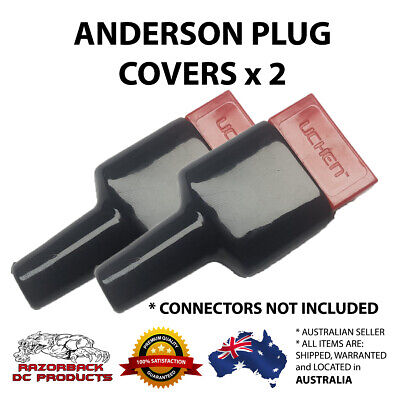 AU5.70 • Buy 2x Weatherproof Anderson Style 50A Plug Dust Cable Sheath Cover Black 50A/50 AMP