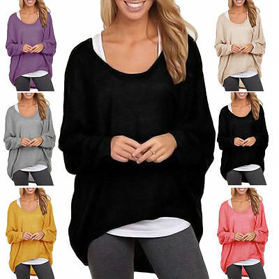 AU12.34 • Buy Womens Loose Knitted Batwing Sleeve Jumper Sweater Knit Baggy Blouse Tops Casual