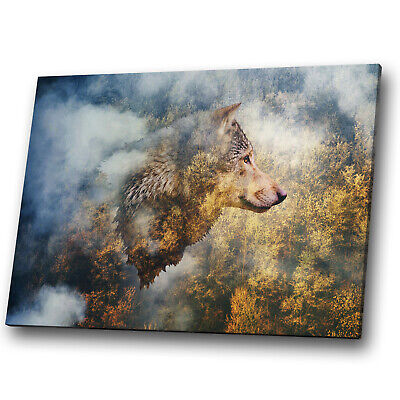 A943 Wolf Forest Yellow Blue Funky Animal Canvas Wall Art Large Picture Prints • 19.99£