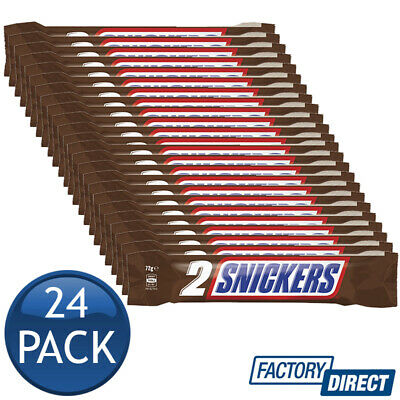 AU67.15 • Buy 24 X SNICKERS 2PK CHOCOLATE BARS CHOC CHOCO CARAMEL SWEETS CONFECTIONERY 72g