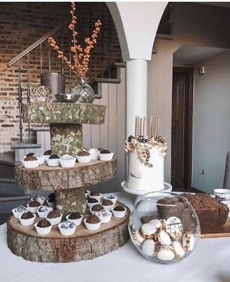 £99 • Buy Three Tiered Rustic Wooden Wedding Cake/ Cup Cake Stand, Centre Piece, 17   Base