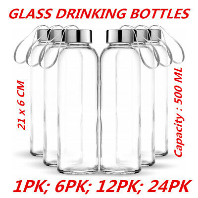 AU10.95 • Buy 500ml Large Glass Water Sports Bottle Ribbon Handle Juice Milk Beverage Storage