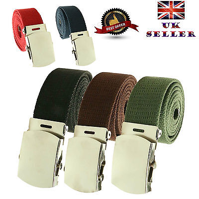 £1.99 • Buy New Unisex 30mm Fashion Fabric Cotton Canvas Military Curved Plain Buckle Belt