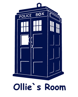 Tardis Personalised NAME Wall Door Sticker Dr Who Boys Girls Kids Bedroom Ipad • 3.89£