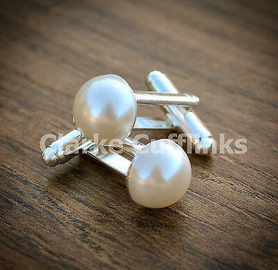 Pearl Cufflinks - Birthday Gift Wife Girlfriend Mum Wedding Ladies Womens Mens • 6.99£