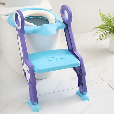 Childrens Toilet Seat Ladder Toddler Training Step Up For Kids Easy Fold Down UK • 13.59£