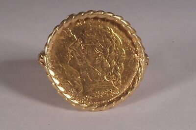 $675 • Buy 1915 10 Franc Swiss Gold Coin Helvetia 14 K Ring
