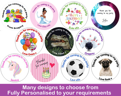 36x Round Personalised Birthday Stickers Labels Thank You For Coming To My Party • 1.97£