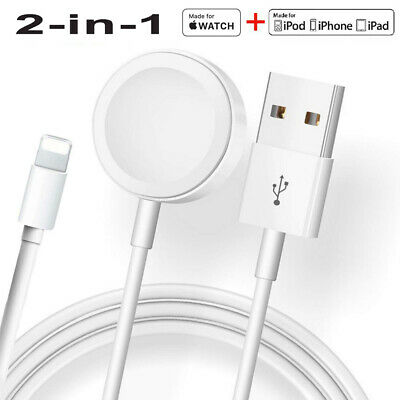 $ CDN11.27 • Buy 2-in-1 Magnetic Charger USB Cable For Apple Watch SE/6/5/4/3/2/1 IPhone 11/8/7/X