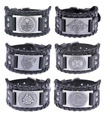Mens Vintage Viking Black Leather Norse Metal Rune Design Bracelet • 9.99£