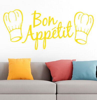 Bon Appetit Kitchen Cafe Home Room Family Quote Wall Vinyl Sticker Decal Yellow • 3.50£