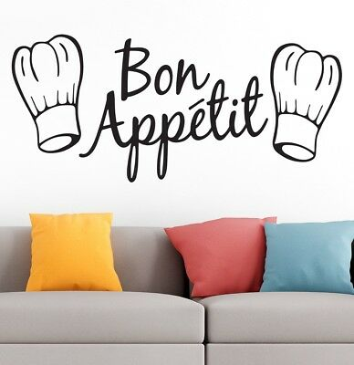 Bon Appetit Kitchen Cafe Home Love Family Quote Wall Vinyl Sticker Decal BLACK 1 • 5£
