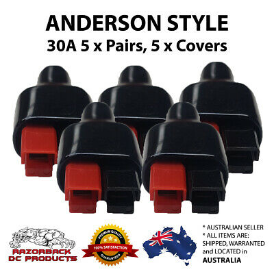 AU13.95 • Buy 5 Pair 30Amp Power Pole Plug Connector Anderson Style & Rubber Boot Sleeves
