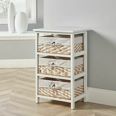 White Wooden Storage Unit 3 Drawer Wicker Basket Chest Organiser Bedroom Hallway • 44.99£