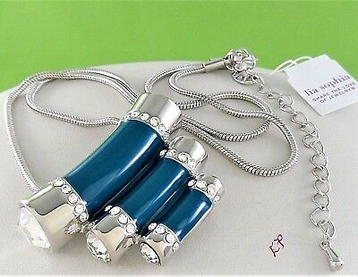 2700d6f2c New Retired Lia Sophia Queue Tiered Teal With Clear Crystal Pendant Necklace  • 8.99$