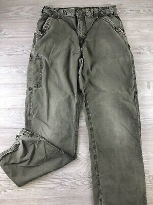 9866a21849 Carhartt Canvas Work Dungaree Fit Cargo Green Men's Pants B151 DOL 36 X36  C106 • 19.99