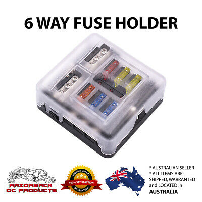 AU24.95 • Buy 6-Way Blade Fuse Block Box Holder Overload Protection For Car Boat Marine Auto