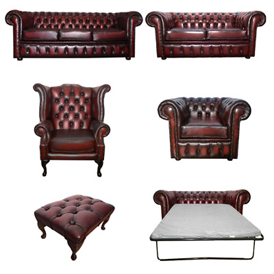 Genuine Leather Oxblood Red Chesterfield Sofa Settee 3 2 Seater Armchair Stool • 594.99£