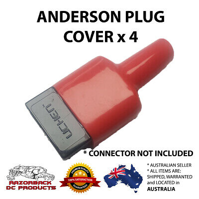 AU8.75 • Buy 4x Weatherproof Anderson Style 50A Plug Dust Cable Sheath Cover RED 50A / 50 AMP