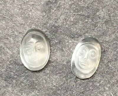 $48 • Buy 2 Tiny Carved Antique Moonfaces Ceylon Blue Moonstone 5/3mm #5