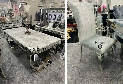 £1179.90 • Buy Arianna 1.8m Light Grey Marble Dining Table And 6 Louis Grey Dining Chairs